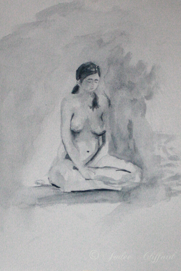 Life Drawing at the Art Center, Zen, ink on paper