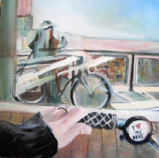 I love my bike oil painting