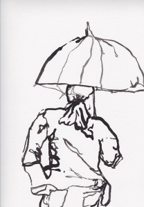 Contour Line Umbrella, Ink on paper