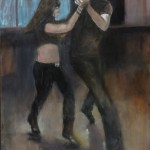 """Connection: John shuffling at Prospectors, 2017 24x36"""", Oil on Canvas (Jodee Clifford / 2017)"""
