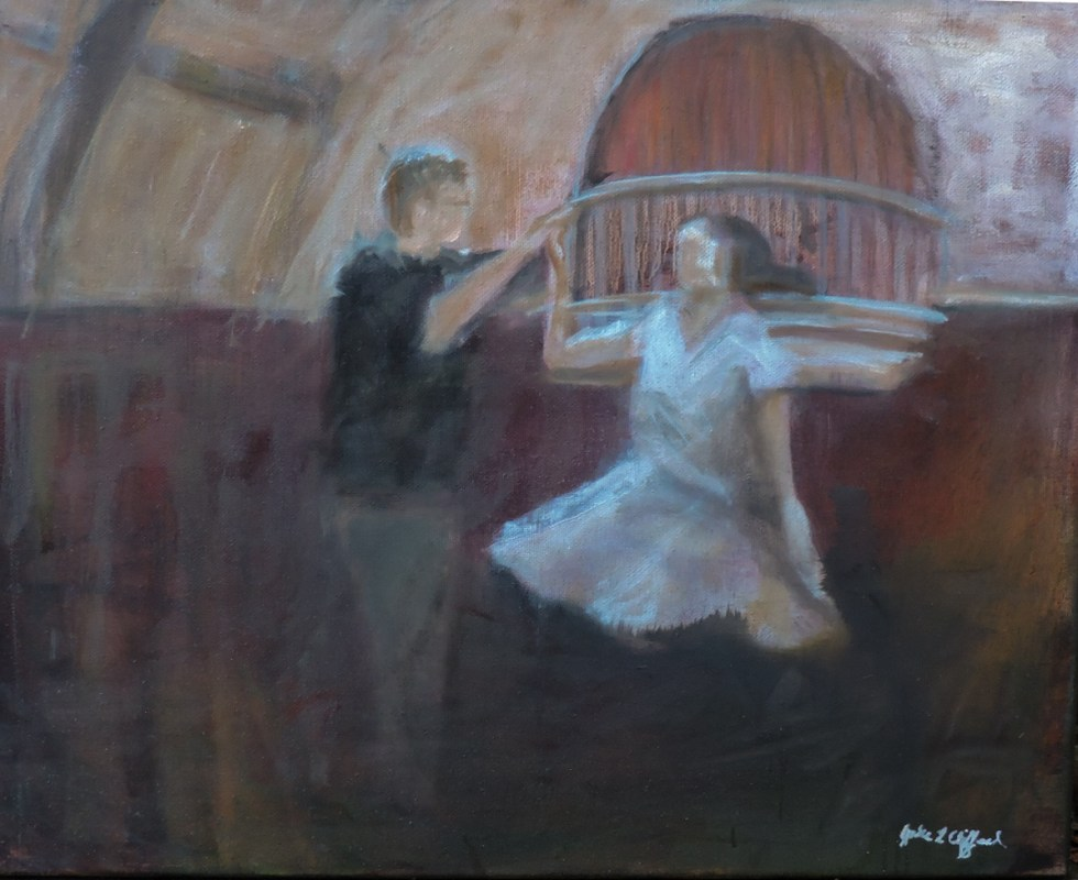 West Coast Swing at Sangha Space on Valentines Day, 2017 16x20, Oil on Canvas