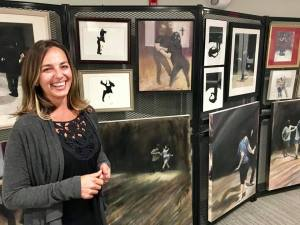 Jodee Clifford with Connection paintings at Gateway Playhouse