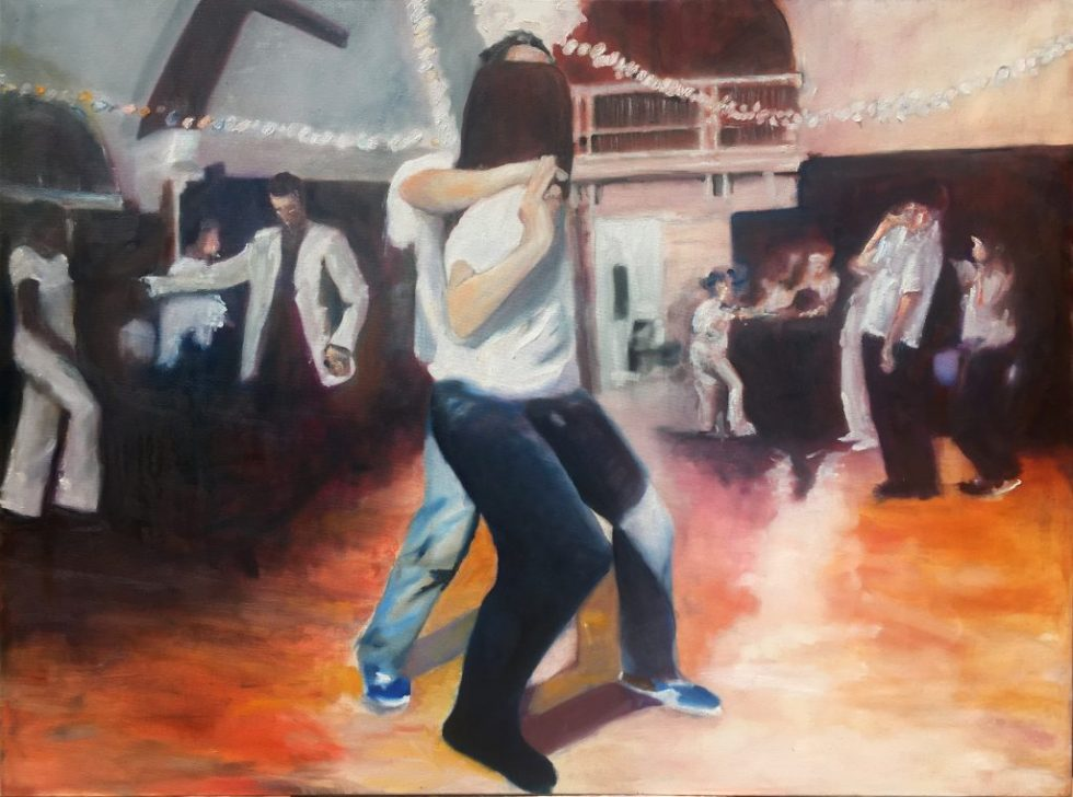 "Cape Walk, West Coast Swing Dancers; 36x48"" oil/canvas. Jodee Clifford. 2018"