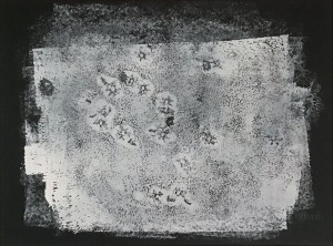 Abstract target monoprint painting