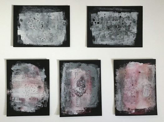 5 Abstract target monoprints