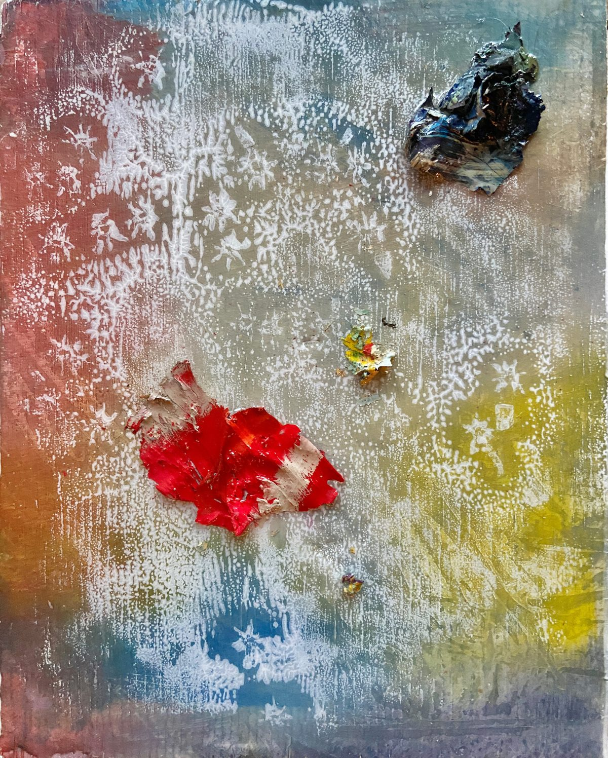 Primary Paint forms. Abstract contemporary mixed media oil painting