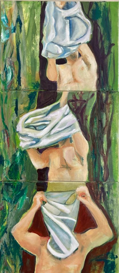 Three figurative male oil paintings