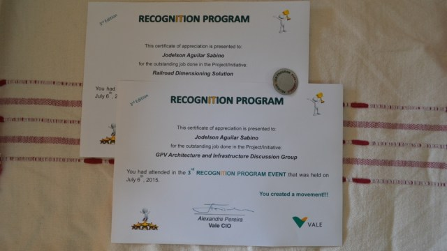 Jodelson Sabino was mentioned  three times in Vale´s Recognition Program