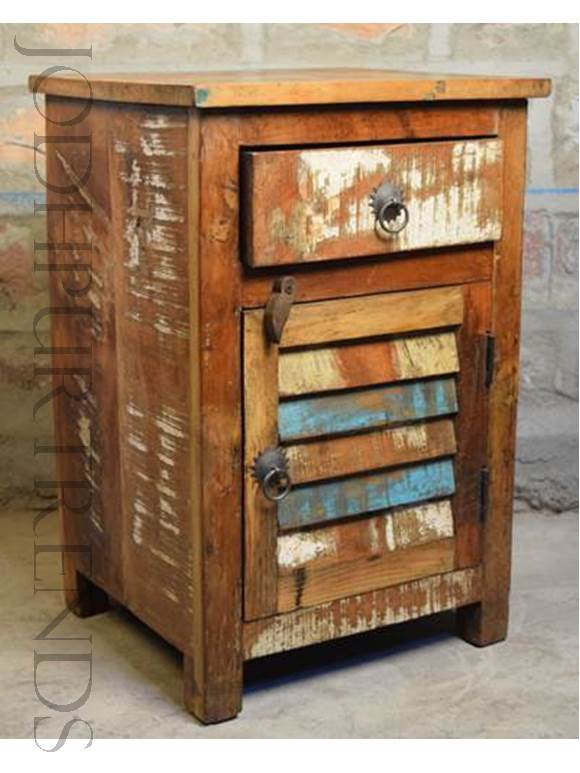 Rustic Bedside Table | Indian Antique Reproduction Furniture