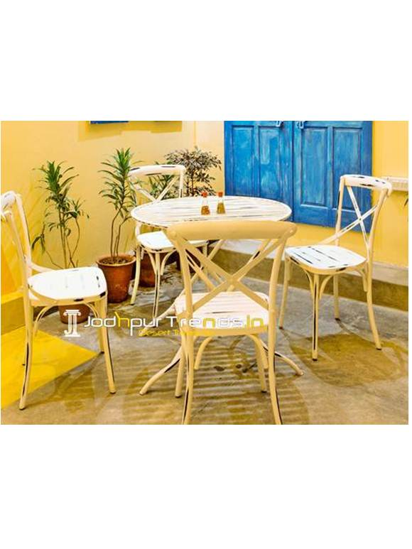 Folding Cafe Table Set Distress Metal Set Vintage Metal Furniture