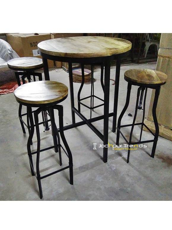 Wooden Bar Table Round Bar Table Set Industrial Restaurant Furniture