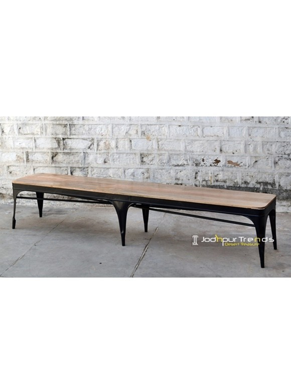 Long Metal Wooden Bench Fine Wood Furniture