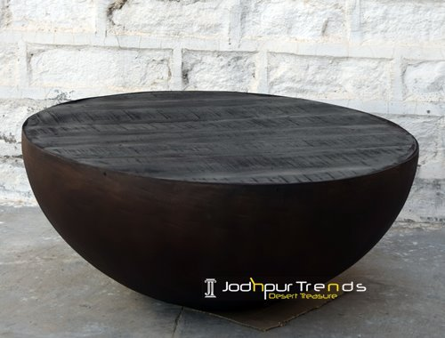 Black Walnut Finish Metal Half Round Table Furniture
