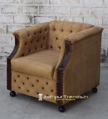 Tuxedo Tufted Old Canvas Inspire Sofa Design