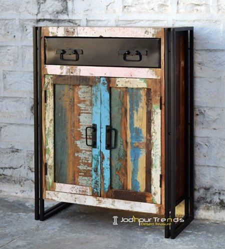 Old Wood Distress Multi Colored Cabinet