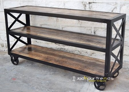 Industrial Metal Wooden Open Console Table Design