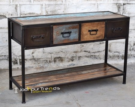 Rustic Reclaimed Wood Hotel Console Table Design