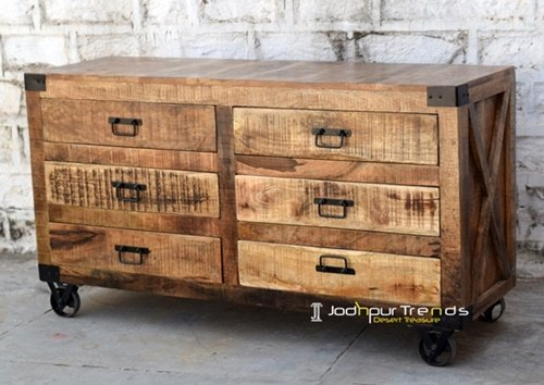 Handcrafted Mango Wood Drawer Cabinet