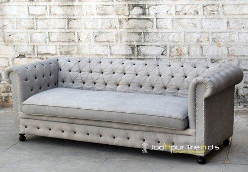 Canvas Chesterfield Long Hotel Sofa Design