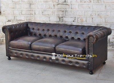 Genuine Leather Chesterfield Restaurant Sofa Design