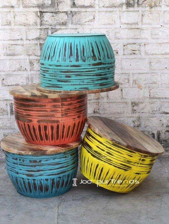 Multi Colored Distress Metal Coffee Table Furniture