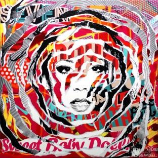 AROUND MY MUSE by Jo Di Bona 2015 80x80 technique mixte sur toile