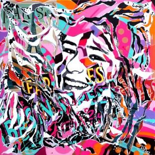 BASIN STREET by Jo Di Bona 2015 100x100 technique mixte sur toile