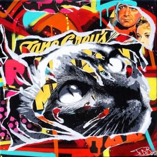 CAT by Jo Di Bona 2015 50x50 technique mixte sur toile