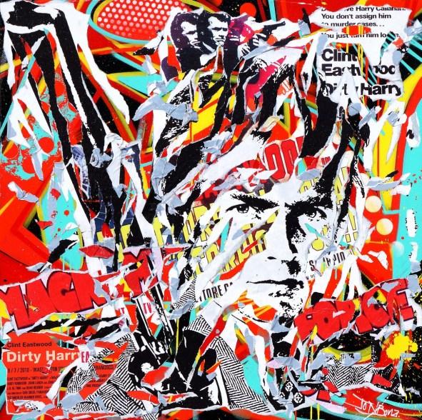 DIRTY HARRY IS SO POP! by Jo Di Bona 2015 100x100 technique mixte sur toile