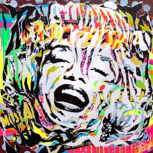 FLUO MARILYN by Jo Di Bona 2015 80x80 technique mixte sur toile