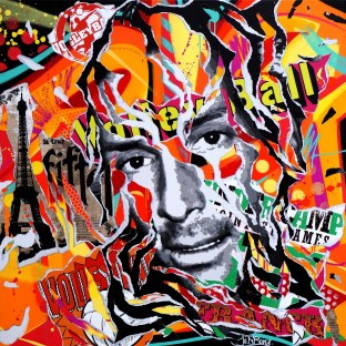FRANCK IS SO POP! by Jo Di Bona 2015 100x100 technique mixte sur toile