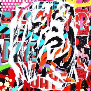 I WANT MY KATE MOSS by Jo Di Bona 2015 25x25 technique mixte sur médium