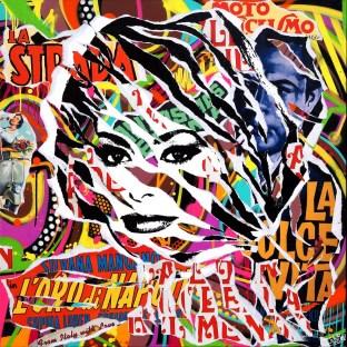 LA DOLCE VITA by Jo Di Bona 2015 100x100 technique mixte sur toile