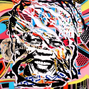 MADIBA IS SO POP! by Jo Di Bona 2015 100x100 technique mixte sur toile