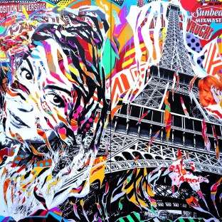 MEL IS IN PARIS by Jo Di Bona 2015 224x220 technique mixte sur toile