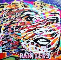 POP CONFESSION by Jo Di Bona 2014 100x100 technique mixte sur toile