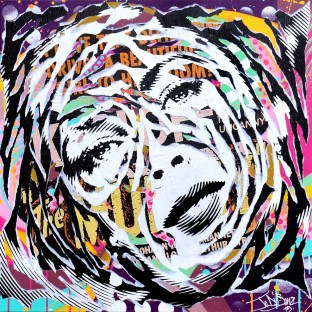 PURPLE LIZ by Jo Di Bona 2015 80x80 technique mixte sur toile