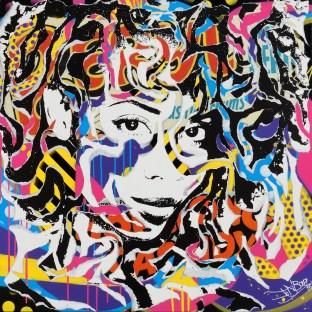TEAR 4 BLUE FEARS by Jo Di Bona 2015 100x100 technique mixte sur toile