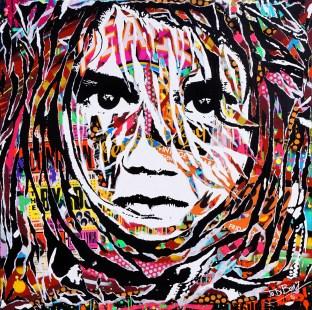 PIERCES MY SOUL by Jo Di Bona 2016 100x100 technique mixte sur toile