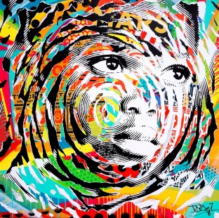 RED AND BLACK LIGHT by Jo Di Bona 2016 100x100 technique mixte sur toile