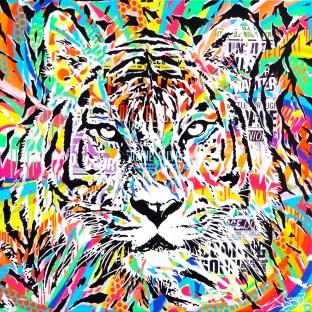 AEROSOL TIGER by Jo Di Bona 2017 100x100 technique mixte sur toile