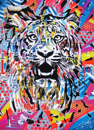 TIGER POWER by Jo Di Bona 2017 50x70 technique mixte sur médium