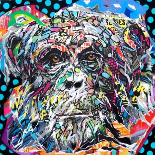 SPACE MONKEY by Jo Di Bona 2018 100x100 technique mixte sur toile