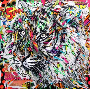 TIGER DREAMS by Jo Di Bona 2018 100x100 technique mixte sur toile