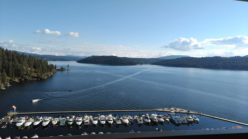 view of cda lake from room