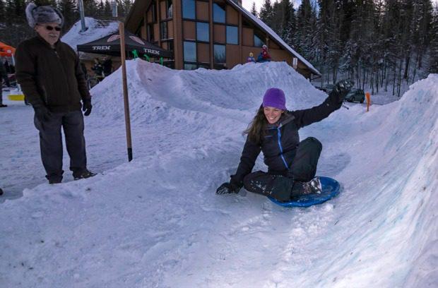 woman snow tube