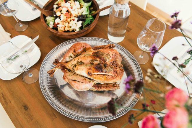 food on a wood dinner table