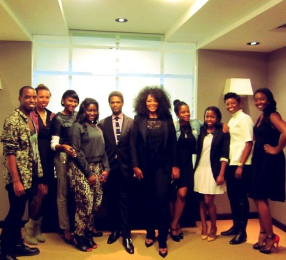 Jody Watley with staff of Ebony Magazine at offices in New York.