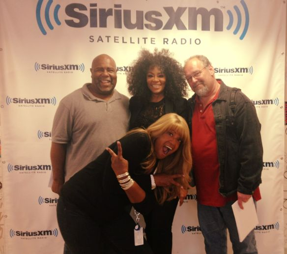 At SiriusXM with longtime supporter Larry Flick, Keith Cobb, and Director of Talent & Industry Relations Tracey Jordan