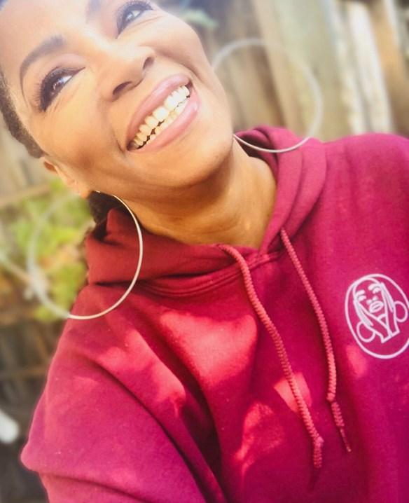 Jody Watley Burgundy Hoodie Smile 2019
